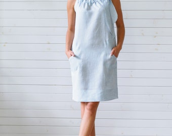 Linen shirt dress Tunic dress Blue linen summer dress Linen