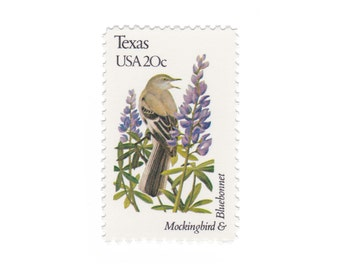 1982 Texas - Mockingbird & Bluebonnet - Vintage Postage Stamps - 10 Unused 20c US Stamps - Item No. 1995