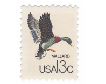 1978 Canadian Wildlife Series - 13c Mallard - 10 Unused Vintage US Postage Stamps - Item No. 1757b
