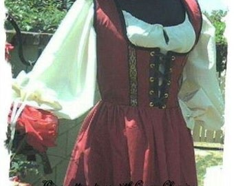 Cotton Renaissance dress gown pirate wench costume steampunk wine