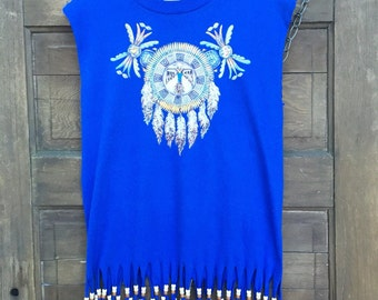 Vintage 80's/90's Women's Sleeveless  Tshirt with Native American Eagle Dreamcatcher and Beaded Fringe