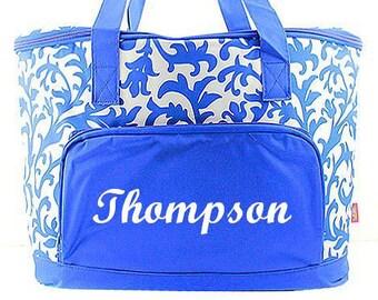 Monogrammed Cooler  Royal Blue Damask Monogrammed Cooler Bag  Personalized Tailgating Cooler