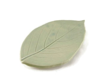 Ceramic Hydrangea Leaf - pottery - Fog Celedon - blue green - ring dish - spoon rest