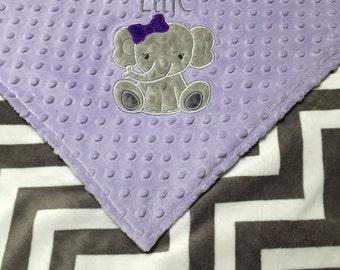Personalized Minky Baby Blanket, Gray Chevron and Lavender Minky, Elephant Blanket, Monogrammed Blanket