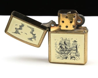 Vintage Brass Scrimshaw Zippo Lighter Ship Lighthouse Sea Ocean Nautical