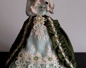 Porcelain Half doll, Pincushion doll, Dresser Doll, Boudoir Doll, Fashion Art Doll, OOAK signed & dated, Lady with puppy figurine