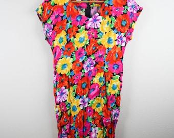 Vintage Ladies Vibrant Floral My Michelle Dress