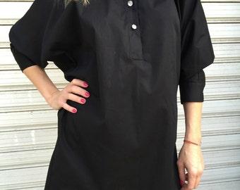 Black Oversized Fashion Shirt / Loose Top /  Bat Sleeves Blouse / Elegant Blouse / Oversize Shirt / MD 10110