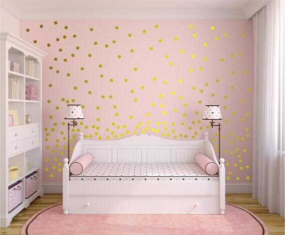 Gold Wall Decals Polka Dots Wall Decor - 1