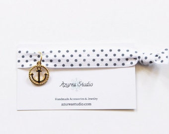 White Gray Polka Dots White Gold Anchor Hair Tie