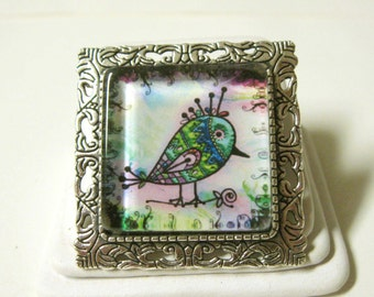 Artsy bird convertible pendant or brooch with chain - BAP35-004