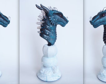 OOAK (one of a kind) fantasy Ice dragon bust sculpture