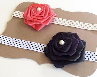 Black and Red Rose headband - Rose Headband - Flower headband - Kid's Headbands - Hair accessories - Set of 2