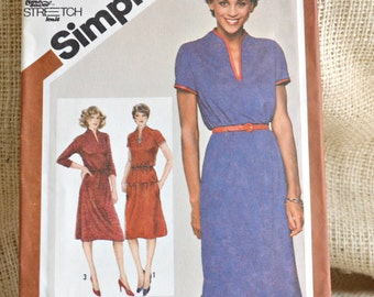 Uncut Simplicity 9833 // 1980's belted dress // two piece dress // Misses pull over dress