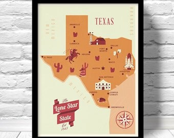 Texas Map, The Lone Star state map, original texas map, nursery map, Home State Map, Texas state poster, modern family map,state family map