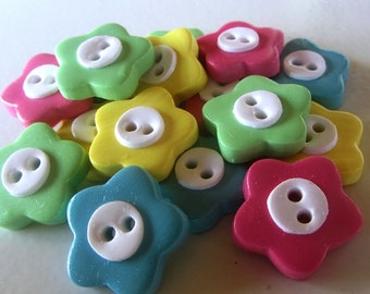 Bright Flower Buttons ~ Set of 4