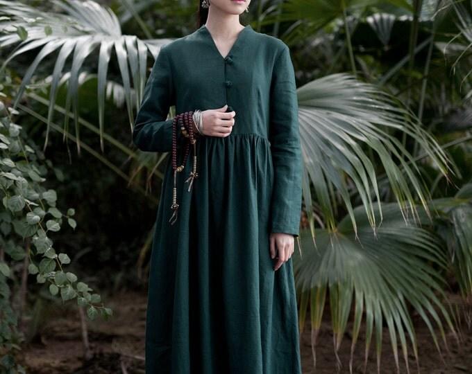 Linen dress- Spring/fall dress - Long sleeves Dress - Pleated Dress - Women long dress - Made to order