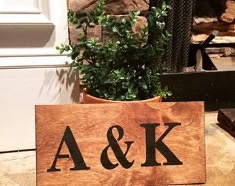 Handmade Initials Wood Sign
