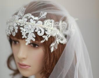 swarovski  crystals and lace flower bridal  headnband , single layer veil ,Bridal Flower Veil-----v112