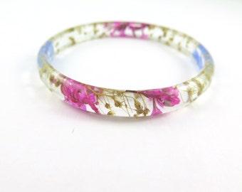 Pressed Flower Bracelet, Eco Resin Bangle Bracelet, Chunky bangle, Real Plant Bracelet, Botsnical jewelry, Flower resin jewelry, Size L
