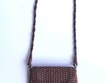 80's Vintage Brown Woven Huarache Leather Crossbody Bag