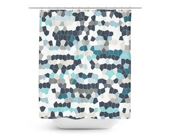 Mosaic Shower Curtain, Geometric Shower Curtain, Bath Curtain, Teal Grey Navy Blue