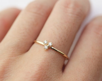 14k gold diamond trio ring, diamond cluster ring, dinty diamond stackable ring, solitaire ring, yellow, rose, white gold, dal-r102-1.5mm