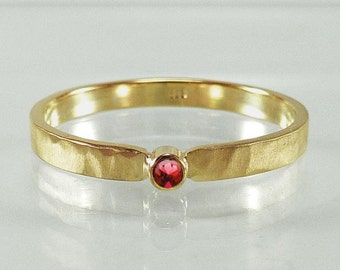 Gold ring with Ruby - Engagement Ring, application ring, stacking ring, yellow gold, ladies ring - handmade by SILVER LOUNGE