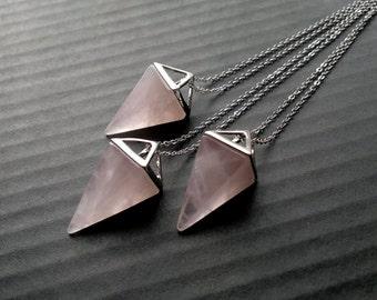 Rose Quartz Necklace Triangle Necklace Silver Rose Quartz Pendant Geometric Pendulum Silver Pink Stone Necklace Rose Quartz Jewelry Pyramid
