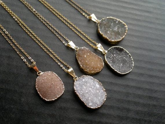 Oval Druzy Necklace Druzy Pendant Druzy Stone Druzy Jewelry