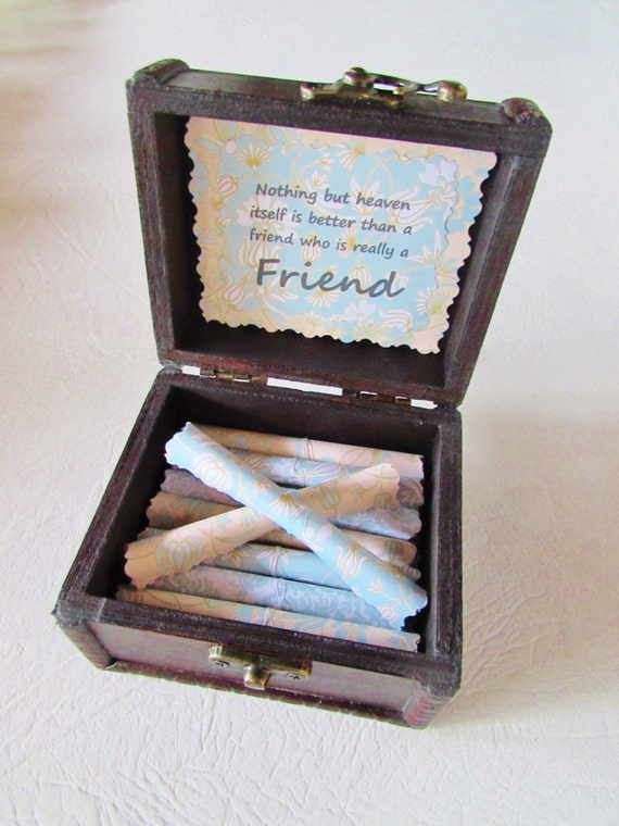 Friend Gift Friend Going Away Gift Best Friend Gift Friendship Quotes in Wood Chest Friend Birthday Gift Best Friend Long Distance Gift