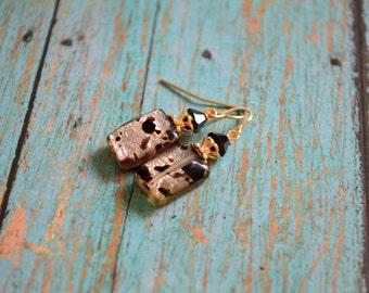 Lampwork glass beads earrings,Chic,elegant,vintage style earrings,Gift for her under 10 dollar,Gift ideas earrings
