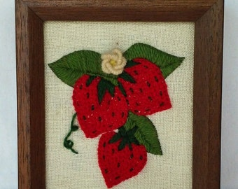 Vintage Crewel Embroidered Garden Strawberry Wall Hanging Decor 1970's Yarn Art