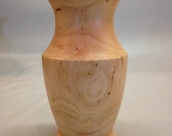 Wood Vase Pecan Handturned Large Hollow Form