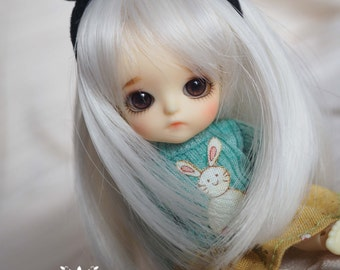 bjd doll girl wig (3 colors) W-9 for 1/12 lati white fl pukipuki dz momo nono
