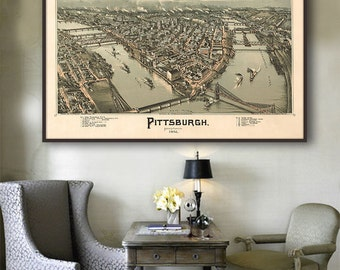 "1902 Pittsburgh panorama, Vintage Pittsburgh map home decor reprint - 4 large/XL sizes up to 54"" x 36"""