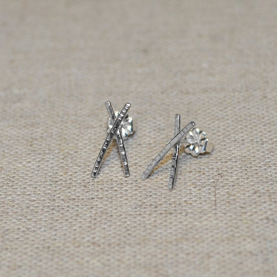 Sterling Silver Textured Bar Stud Earrings - Tiny Stud Earring - Silver Earring Studs - 20 Gauge Cartilage Piercing - Helix Piercing