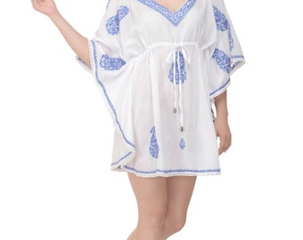 The Claudia -  White Beach Kaftan, Cover-up, Caftan with Hand-Embroidery