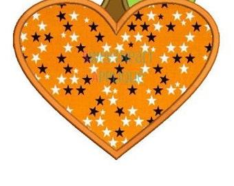 Heart Pumpkin Applique Design, Heart Pumpkin Applique, Halloween Applique Embroidery Design 4x4 5x7 6x10 8x8