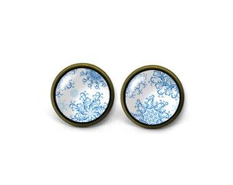 X811- Vintage Pattern, Glass Dome Post Earrings, Handmade