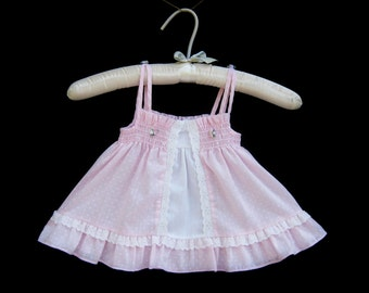 Vintage Handmade Frilly Sleeveless Smocked Pink Polka Dot Dress with Lace | Size Girls 12-18 Months