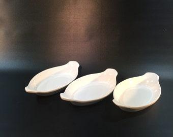 Vintage White Ceramic Au Gratin Dishes Set of 3