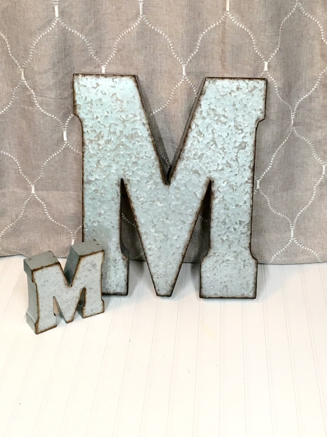 Large metal letter 20 inch metal letter wall by theshabbystore for Large letter j for wall