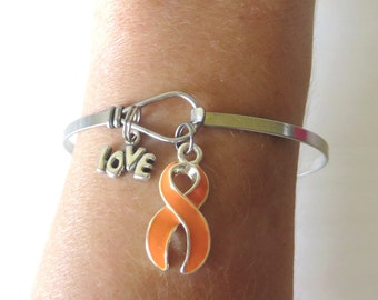 Orange LOVE HOPE Customizable Awareness Charm Stainless Steel Bangle Bracelet With Optional Love Hope and Letter Charm
