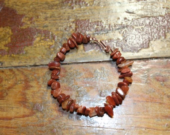 Red Agate Goldstone Copper Bracelet