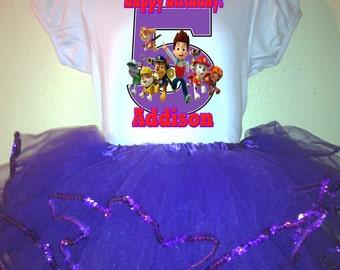 The Paw Patrol Party Dress 1T,2T,3T,4T,5T,6T,7T,8T,9 birthday Outfit  2pc Tutu set
