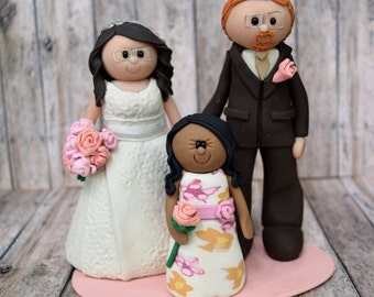Bride, Groom, and child Cake topper DEPOSIT, personalized wedding cake topper, children, bride and groom, family wedding cake topper, child