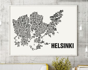 Helsinki Typographic Map Screen Print