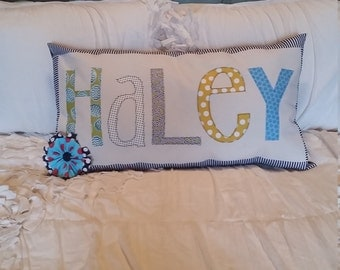 Ready to ship applique name pillow - Haley