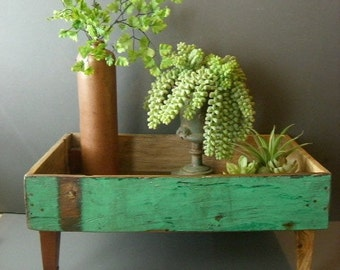 Rustic wood desk organizer, Desk caddy. Upcycled serving tray. Plant holder.